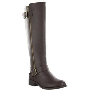 Mia Cascaded Tall Buckle Boot Chocolate NWOT